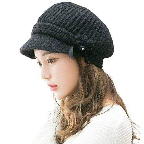 574e8b1bc04 Siggi 50% Wool Knitted Newsboy Cap Visor Beret Beanie Cloche Hats for Women  Fleece Lined
