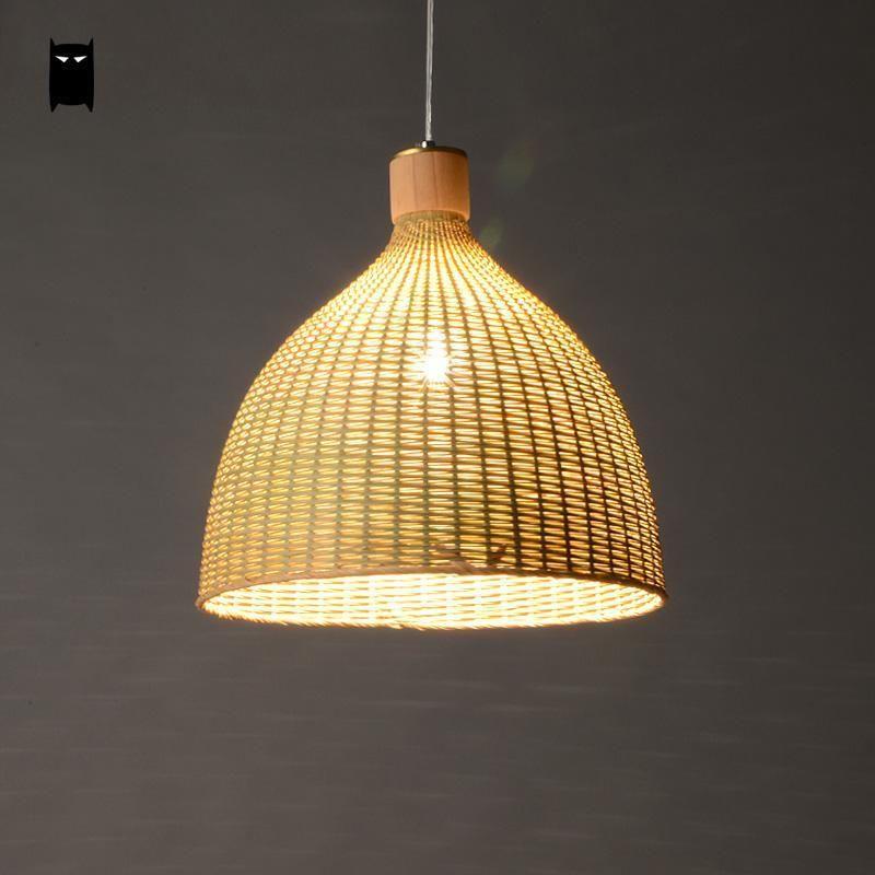 Hand Woven Bamboo Rattan Round Basket Shade Pendant Light Fixture Lamp Design Soleil Asian