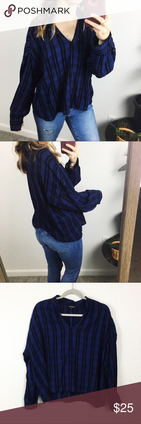 Madewell v neck blouse - in great pre owned condition, shows some small signs of wear on the sleeve as shown in last pic / I'm sure could be washed out  - offers are always welcome 0429E Madewell Tops Blouses