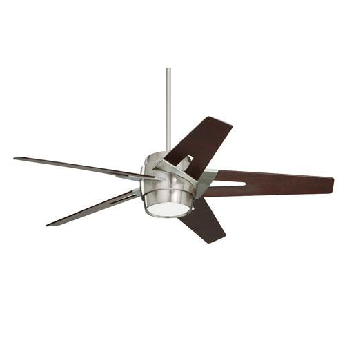 Emerson Fans Luxe Eco 54 Inch Brushed Steel Ecomotor Ceiling Fan With Dark Mahogany Blades And