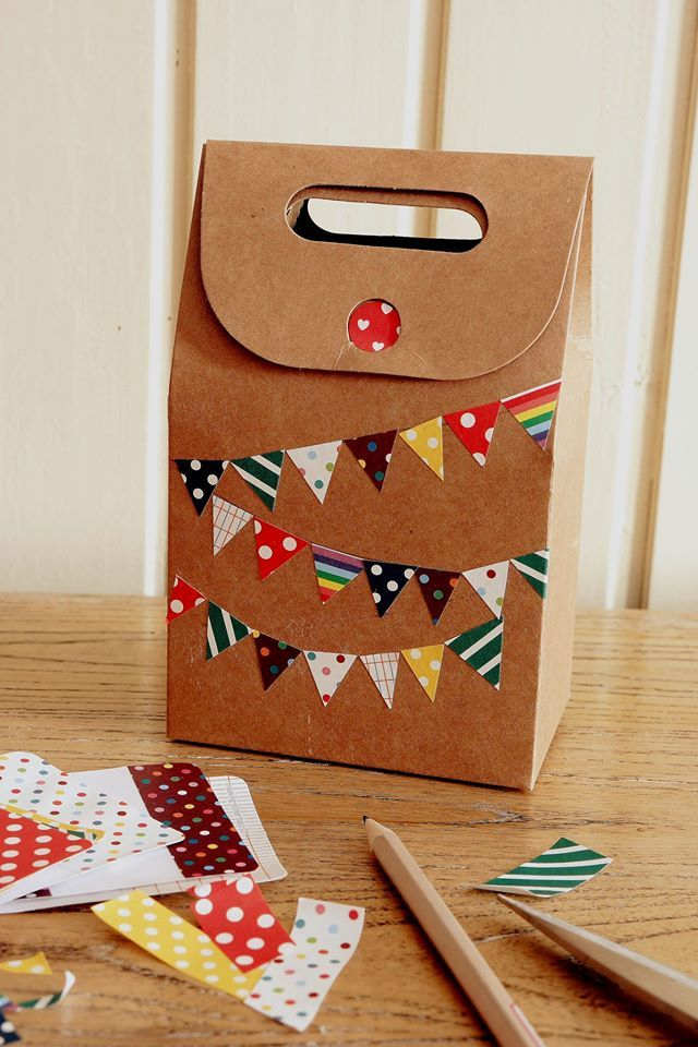 YOZO CRAFT / Craft Ideas Decorate plain kraft paper box by using masking tapes & Ideas to decorate gift box (DIY Craft Ideas and Kawaii Stationery ...