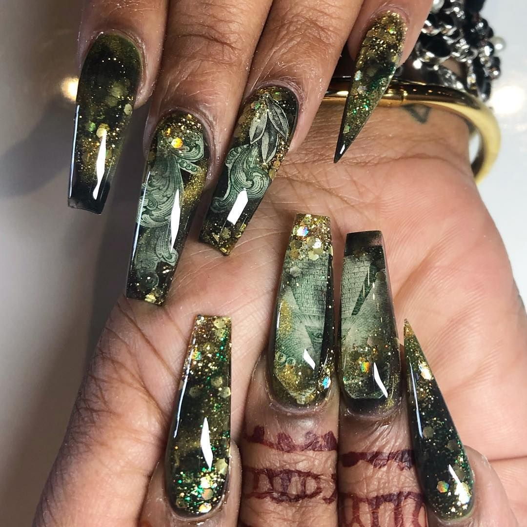 Sculpted Coffin Nails Encapsulated Dollar Bill Marbled Gold And Black I Have Never Been A Big Fan Coffin Nails Designs Pretty Acrylic Nails Nail Designs