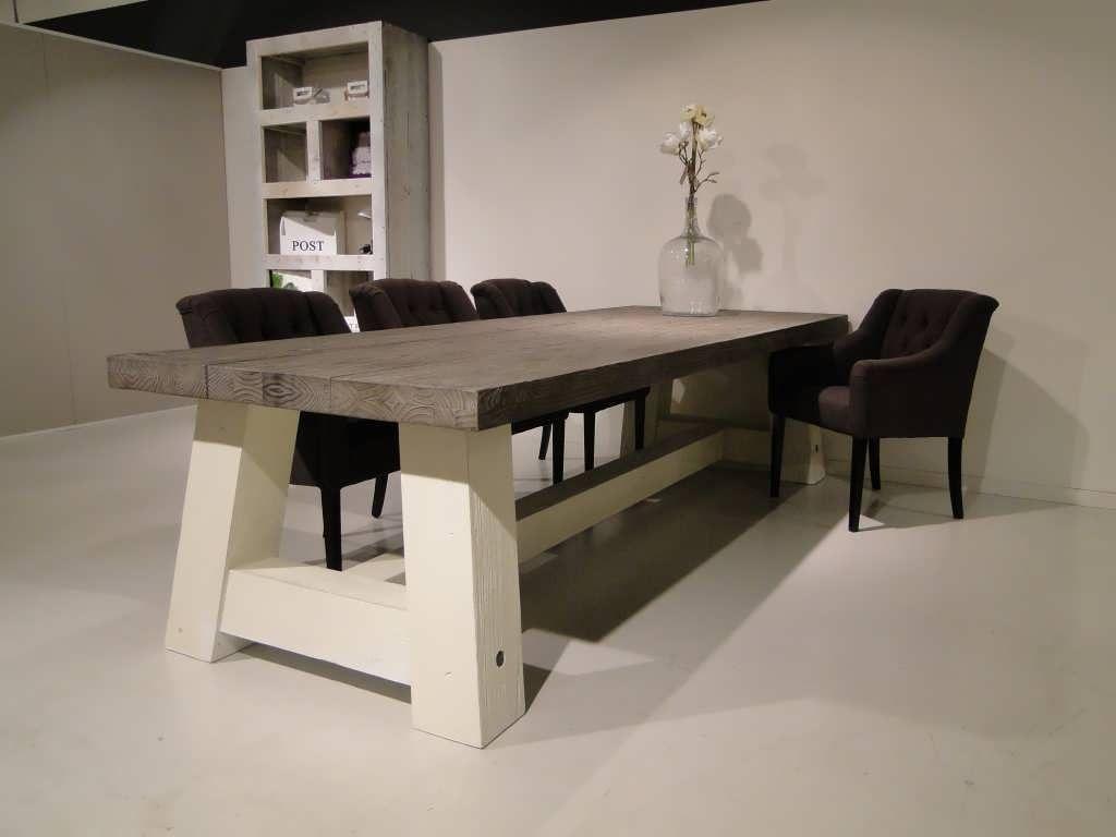 Robuuste kloostertafel malin met wit onderstel robuuste tafels unieke robuuste - Tafel eetkamer hout wit ...