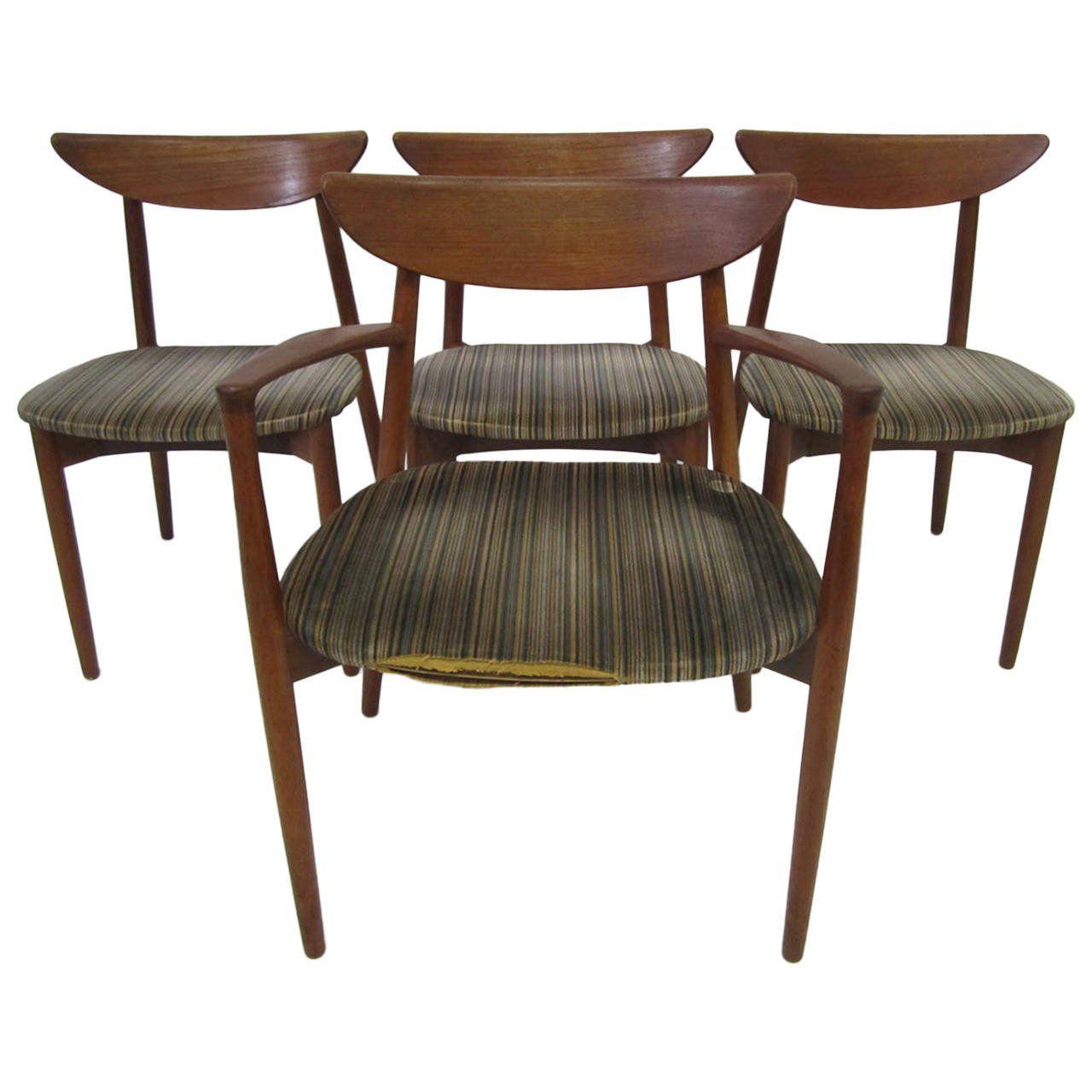 Harry Ostergaard mid century Danish modern Teak dining chairs - Harry Ostergaard Mid Century Danish Modern Teak Dining Chairs