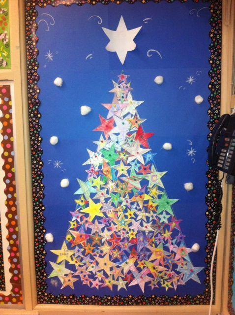 Christmas Tree Stars Christmas Classroom Door
