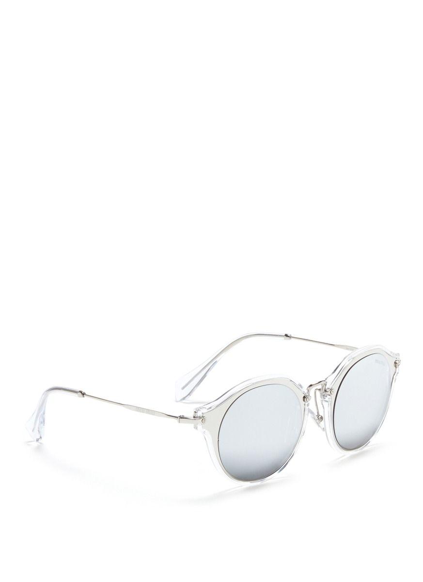39ca5439361a Miu Miu - Metal Inlay Acetate Round Mirror Sunglasses
