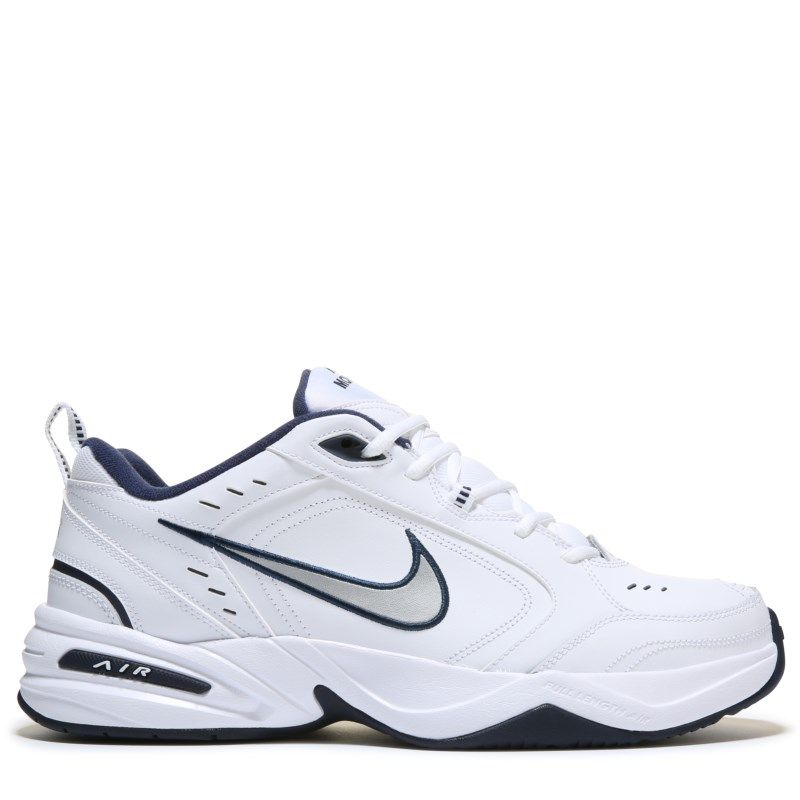 Nike Men's Air Monarch IV Training Shoes (White/ Silver/ Navy)