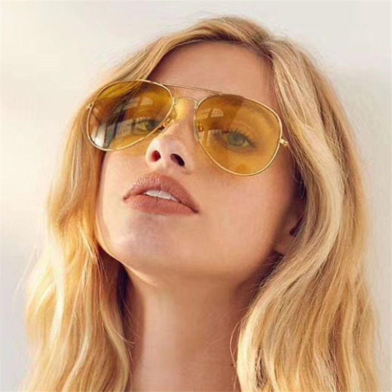4dd51f5c0487 VESTEY Brand Yellow Lens Sunglasses Men Women Night Vision Goggles Driving  Glasses Driver Aviation Polit Sun Glasses UV400