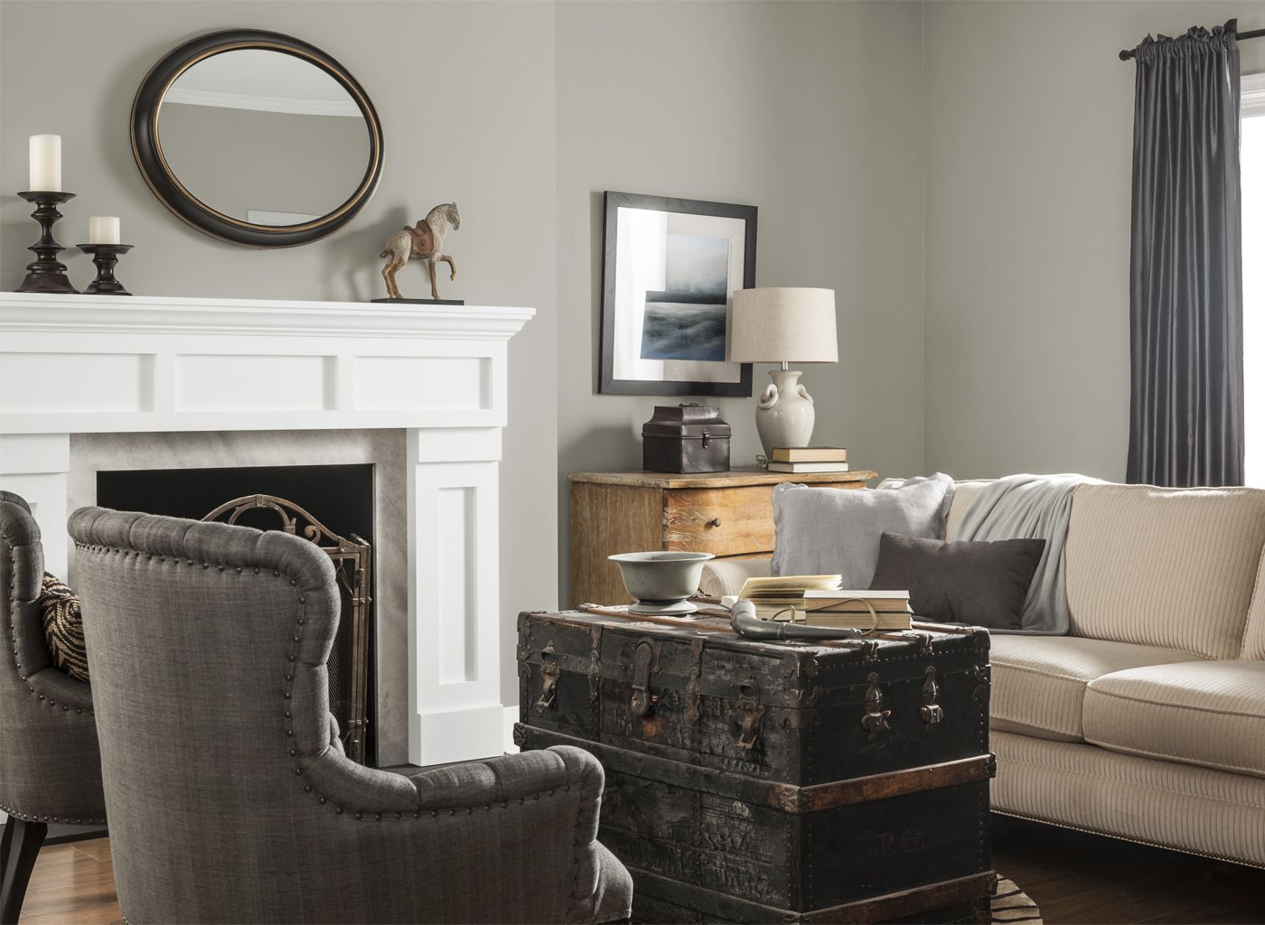 Warm Grey Living Room Glidden Pewter Grey A Room To Live In Great Room Decor Ideas