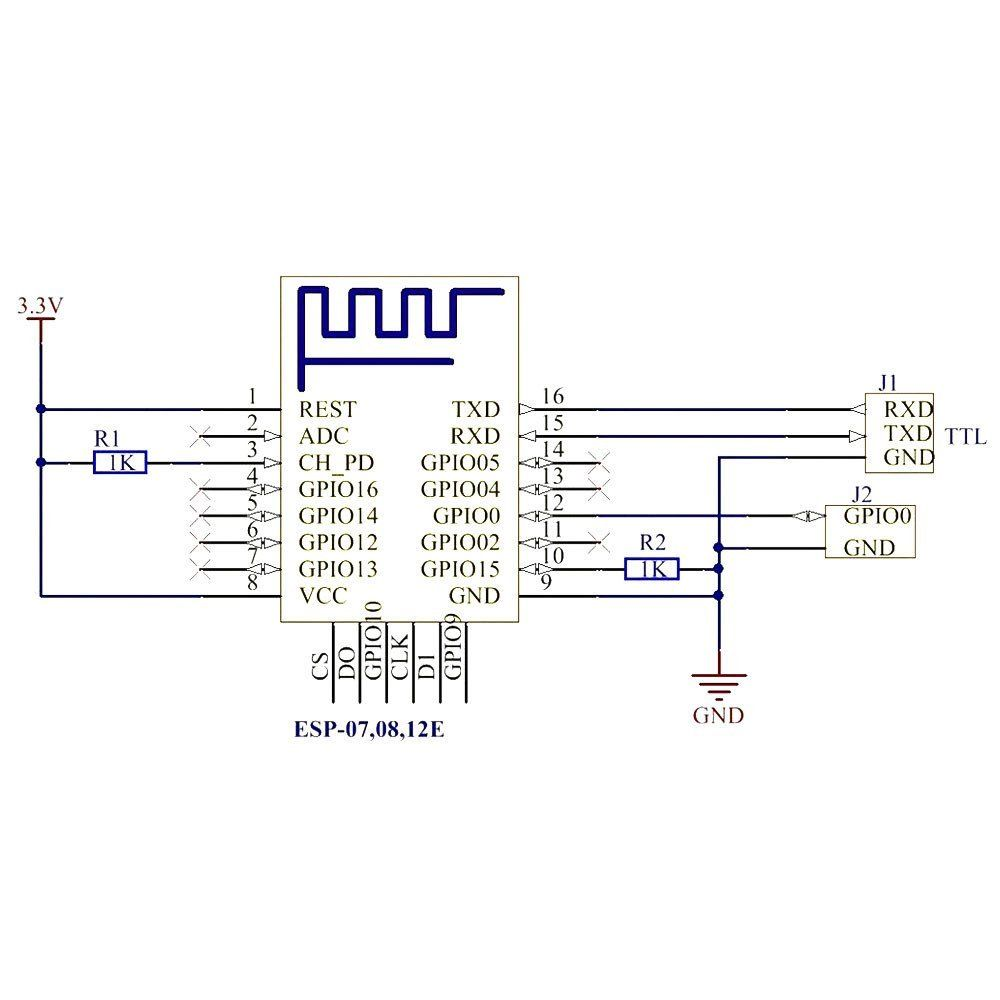 ESP-12F 2pcs ESP8266 ESP-12F Serial WiFi Model for Arduino Wireless Transceiver Remote Port Network Development Board