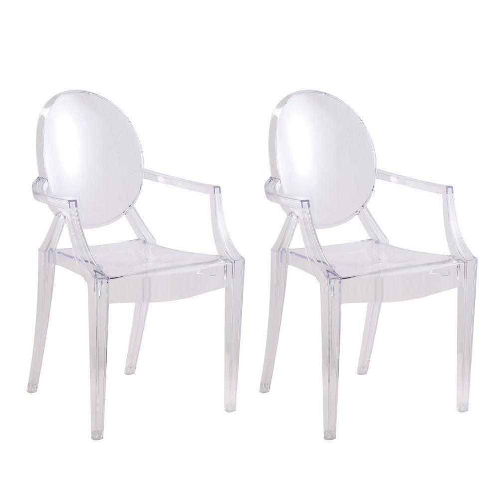 Designer modern clear arm chair set of 2