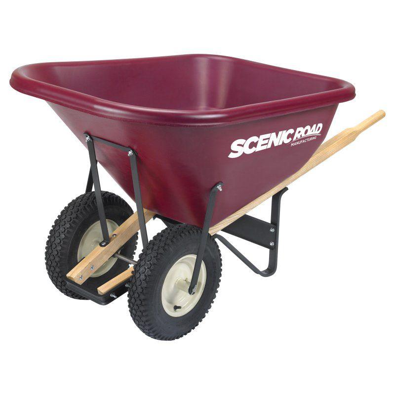 Scenic Road Dual Wheel 10 Cube Wheelbarrow 800 Lb Capacity Wheelbarrow Heavy Duty Wheelbarrow