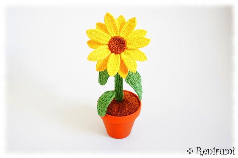 Häkelanleitung Sonnenblume Blume im Topf von Renirumis Kleinigkeiten ...