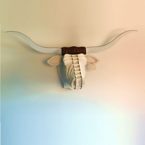 Popular CARDBOARD SAFARI FAUX HUNTING TROPHY Tex the longhorn white and large eBay