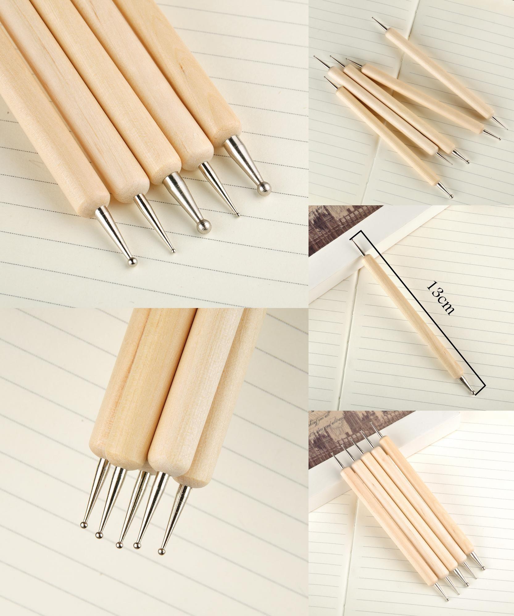 Visit To Buy 5pcsset Metal 2 Ways Dotting Tool Nail Art Wooden