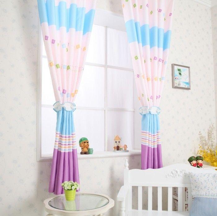 kinderzimmer fensterdeko gardinen mit niedlichen farben - dekoration für badezimmer