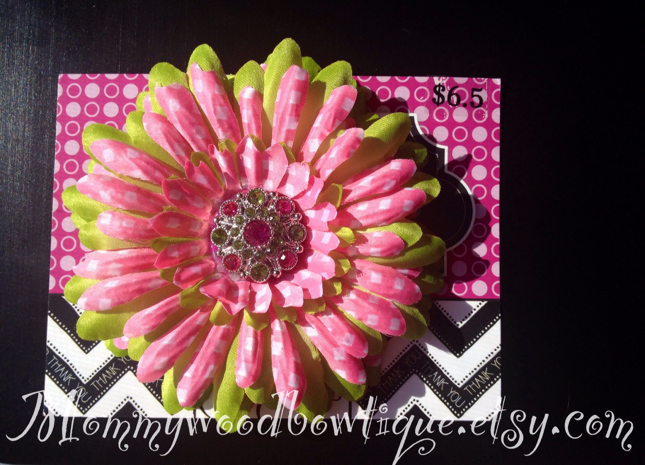 Lime Green And Pink Daisy Flower Hair Bow Clip With Bling Center