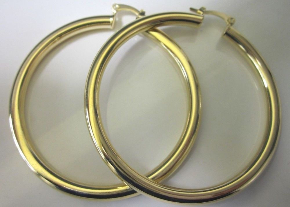 14 Karat Gold Plated 2 3 4 Inch Large Thick Lightweight Hoop Earring In Jewelry Watches Fashion Earrings Ebay