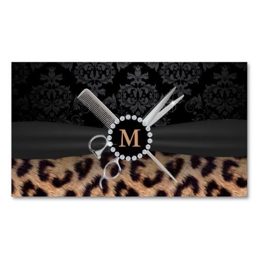 Chic monogram leopard print hair stylist business card leopard chic monogram leopard print hair stylist business card reheart Image collections