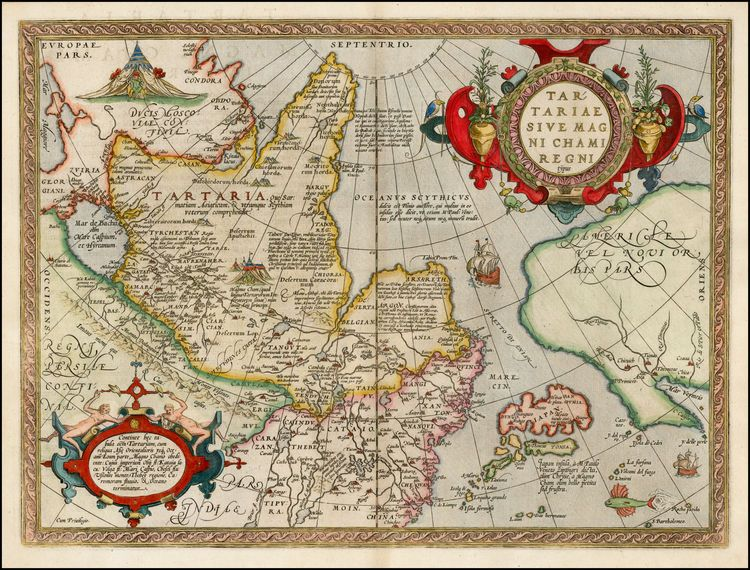 Ortelius\' map of Tartary, Japan, and the West Coast of North America ...