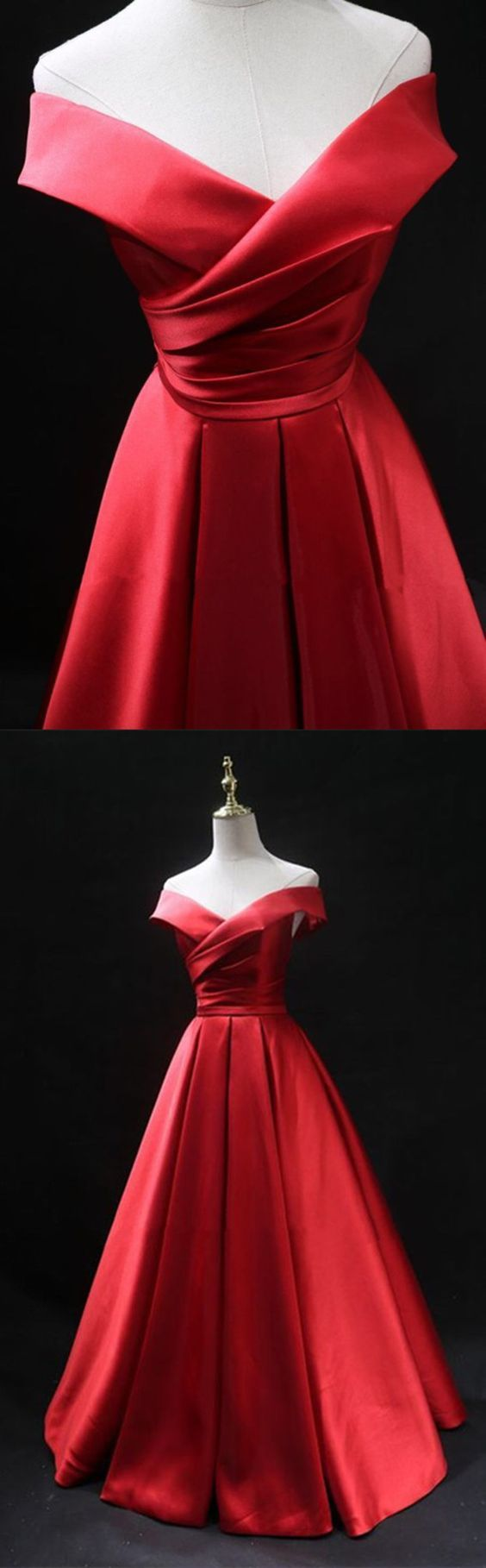 Long red satin prom dresses off the shoulder evening gowns