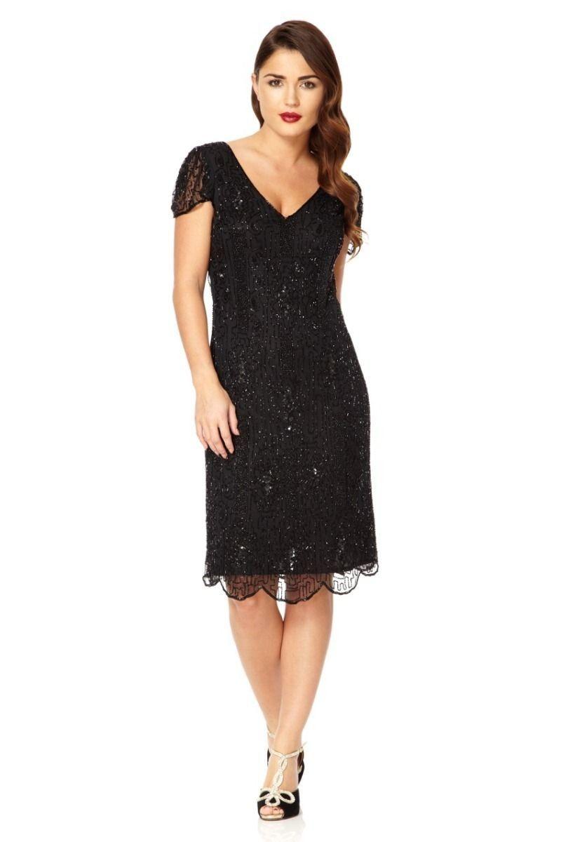 2de93da2ec8 1920 Style Beaded Dress in Black