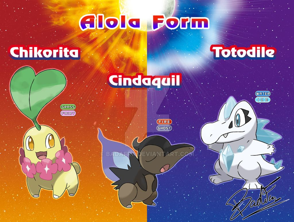 chikorita cyndaquil and totodile alola form by badafra deviantart
