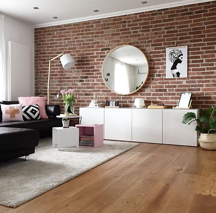 wohnzimmer teppich besta sideboard schrank steinwand sofa couch kissen ikea lampe. Black Bedroom Furniture Sets. Home Design Ideas