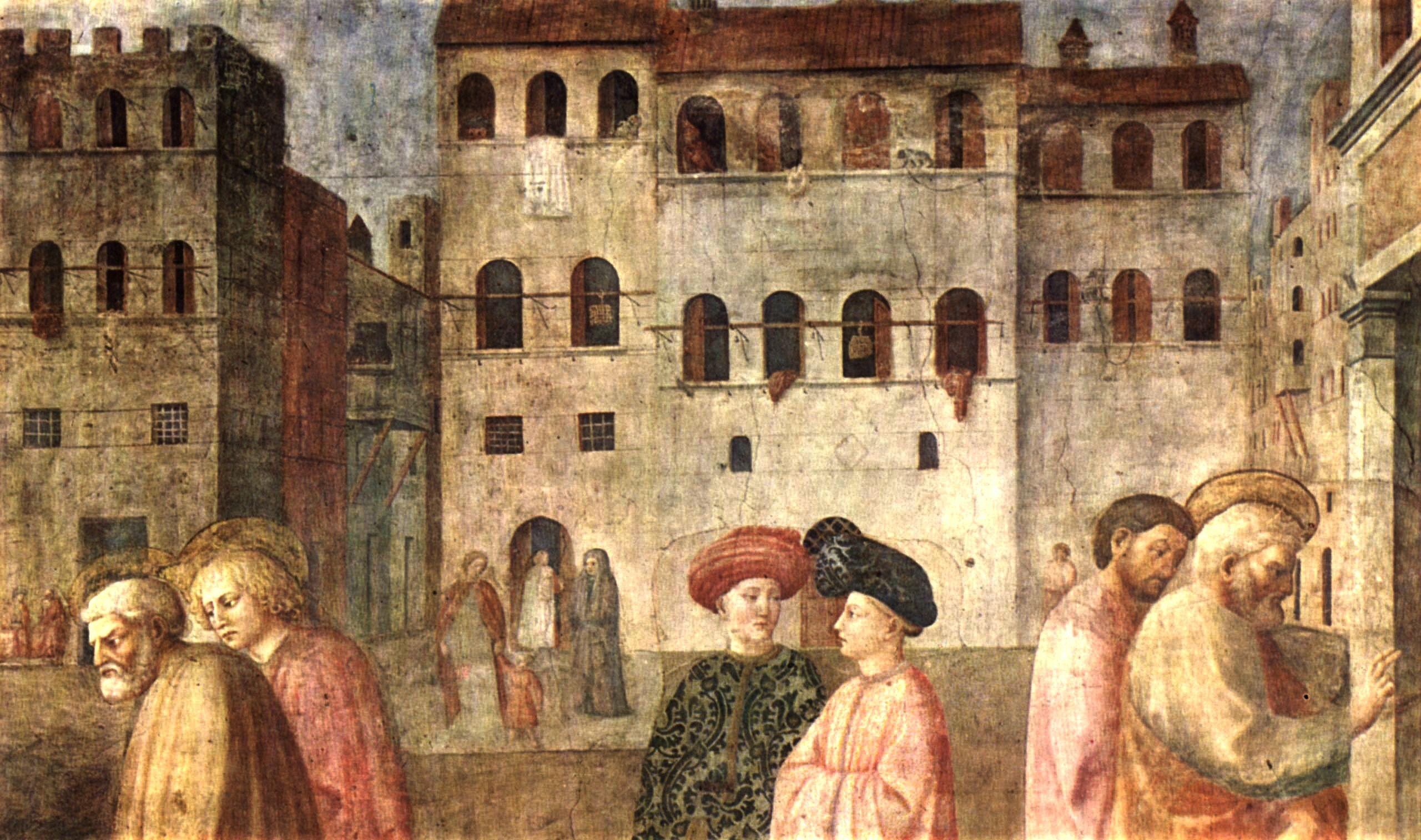 Case a più piani con stanghe alle finestre. Mascolino e Masaccio, La resurrezione di  Tabita e il miracolo dello storpio, affresco, fine XV secolo. Firenze, Santa Maria del Carmine, Cappella Brancacci.
