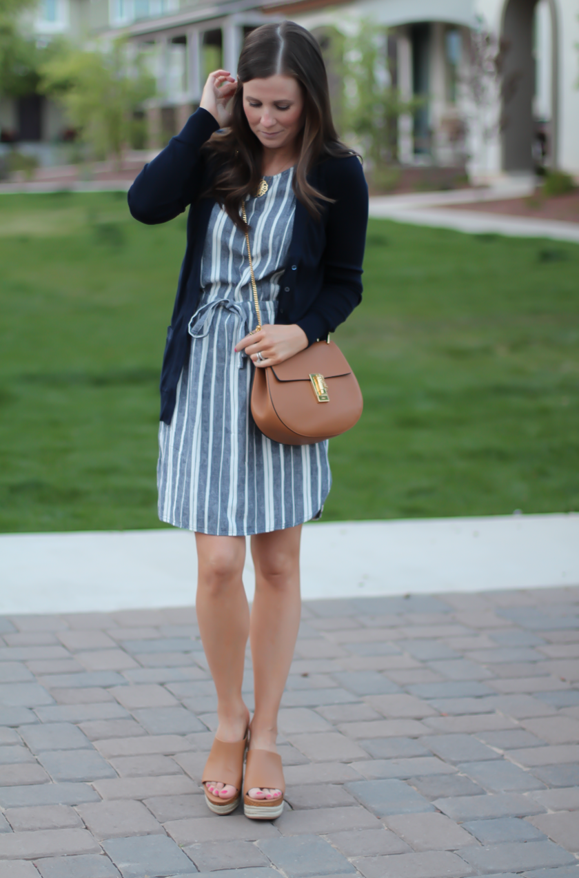 Chambray and White Striped Dress, Navy Long Cotton Cardigan, Tan ...
