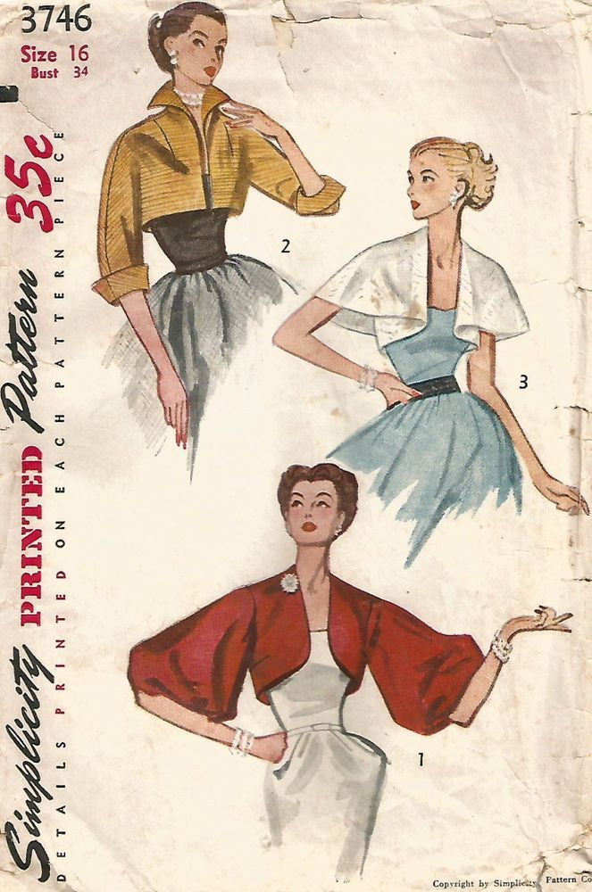 VINTAGE SIMPLICITY 3746 1952 © MISSES' EVENING BOLERO'S BALLOON SLEEVES PATTERN