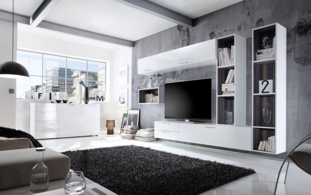 Wohnzimmer Hochglanz ~ Cariba kombi d wohnwand anbauwand weiß hochglanz streifen
