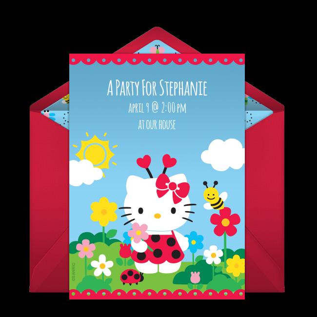 Free Hello Kitty Ladybug Invitations Kid