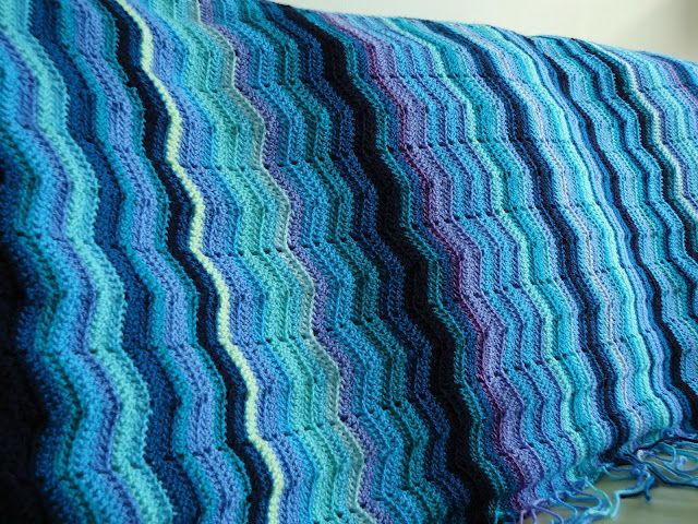 Beautiful nautical ripple crochet... I like her idea of adding an orange row or two to represent lobsters or other crustaceans ...MemeRose: Breathe...reboot....crochet