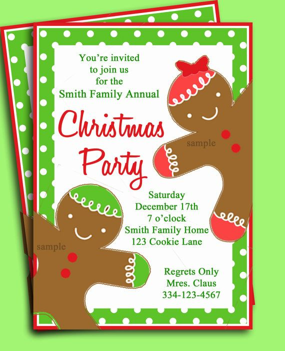 christmas party invitation printable  gingerbread kid collection, invitation samples