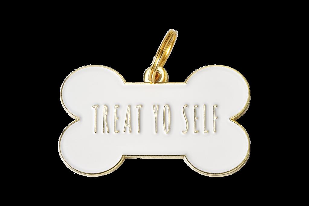Treat Yo Self Enamel Charm Id Tag White Pet Id Tags Pet Id Personalized Dog Tags