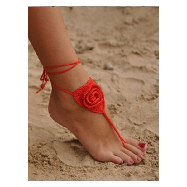 Crochet Toe Ring Barefoot Sandals ($69) ❤ liked on Polyvore featuring shoes, sandals, toe ring shoes, crochet shoes, toe loop sandals, crochet sandals and toe-ring sandals