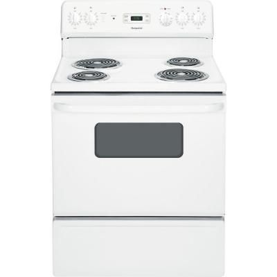 Ge Hotpoint 30 In 5 0 Cu Ft Electric Range In White Rb526dhww Black Appliances Kitchen Hotpoint Electric Range