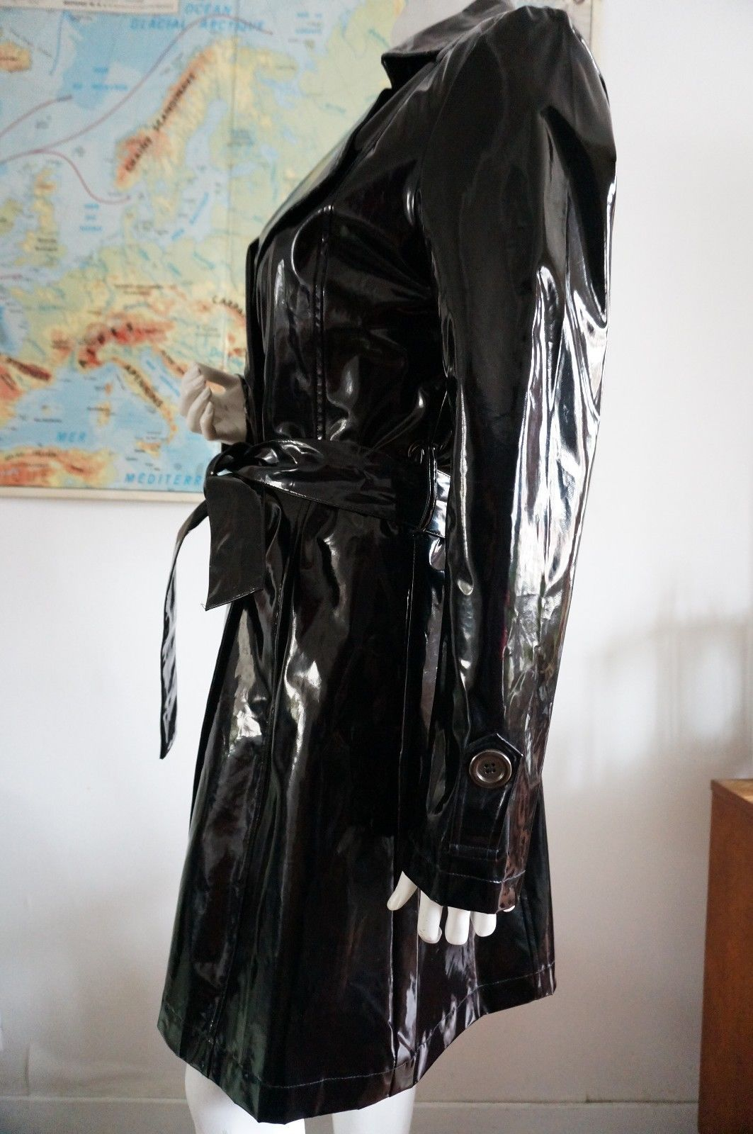 cir taille 38 trench coat vnyl pvc noir brillant impermeable 2 pinterest pvc. Black Bedroom Furniture Sets. Home Design Ideas