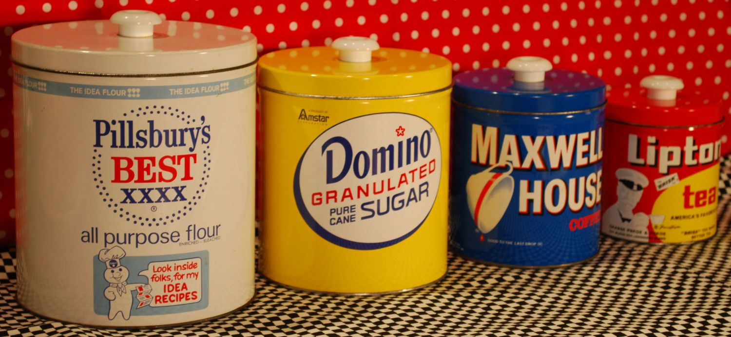 Country canister sets for kitchen - Colorful Canisters Vintage Retro Metal Tin Kitchen Canister Set Pillsbury Flour Domino Sugar Maxwell House Coffee Lipton Tea Old Graphic Advertising