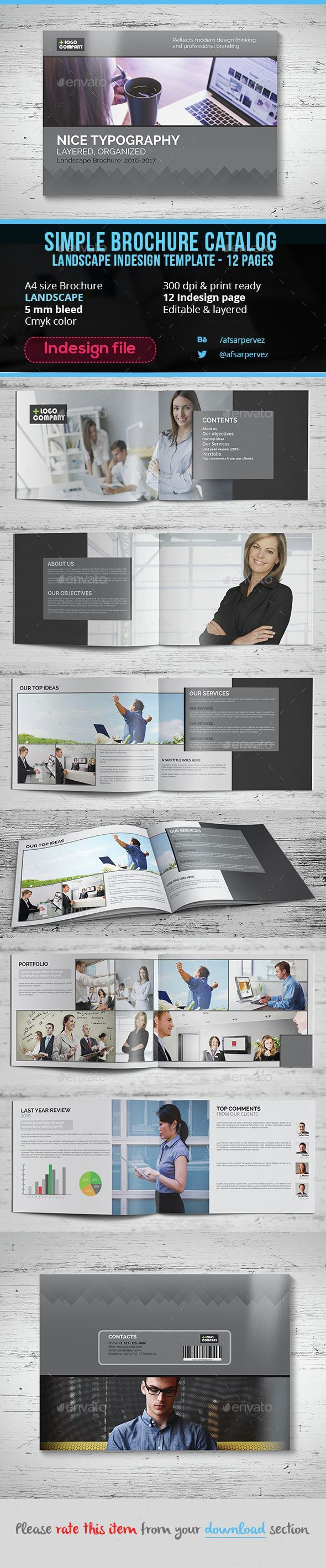 Simple landscape brochure indesign template 12 page brochures simple landscape brochure indesign template 12 page brochures print templates maxwellsz