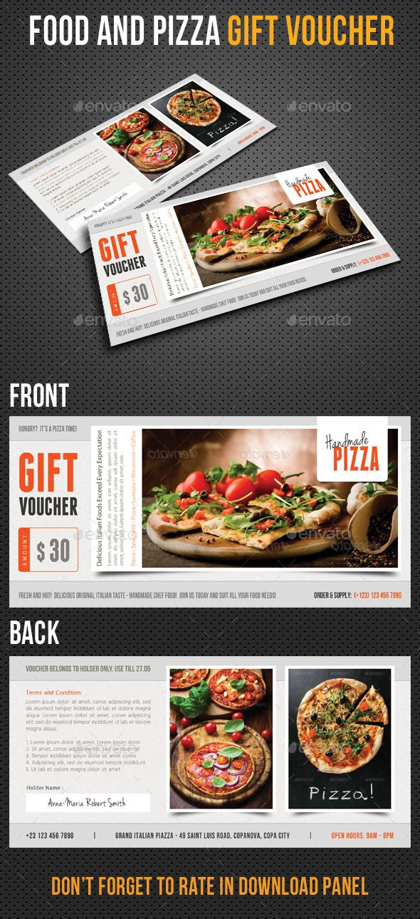 Food And Pizza Gift Voucher V01 Pizzas Template And Print Templates