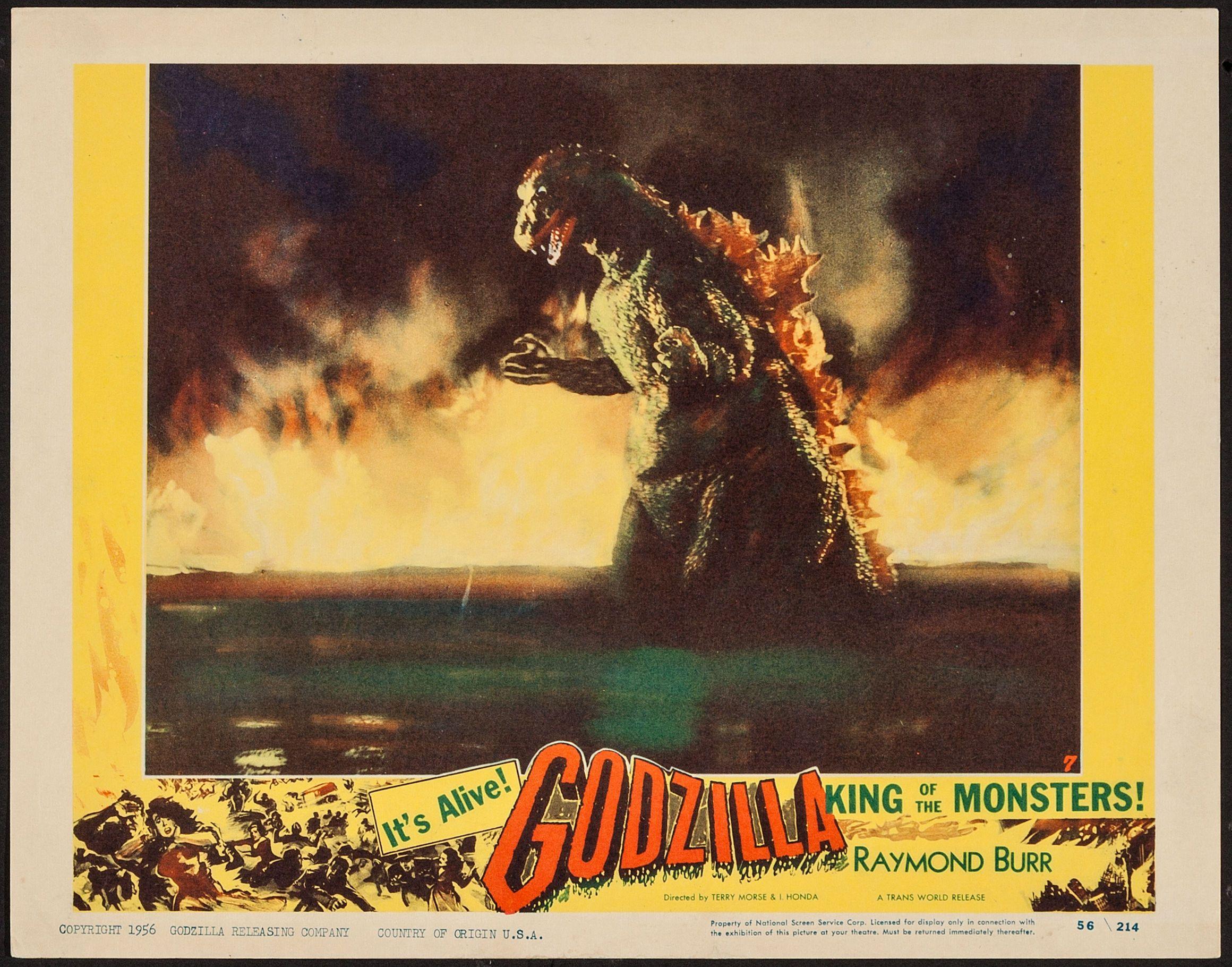 Lobby card for the American release of Godzilla, GODZILLA KING OF ...