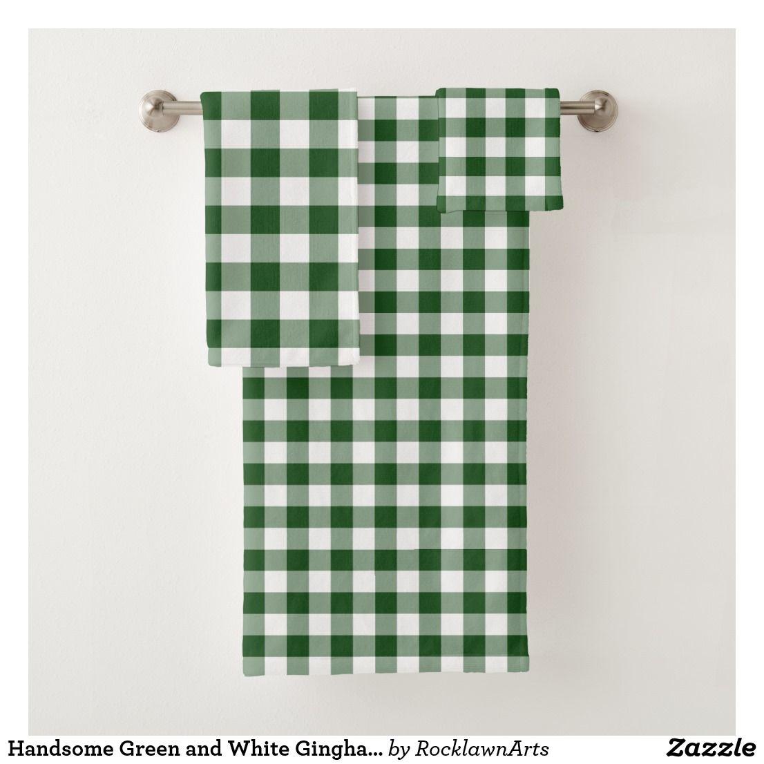Handsome Green And White Gingham Plaid Towel Set Zazzle Com Towel Set Custom Towel Bathroom Decor