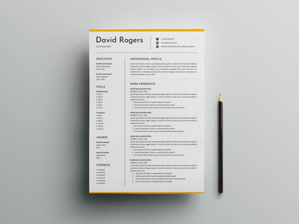 Free estimator cvresume template clean resume template