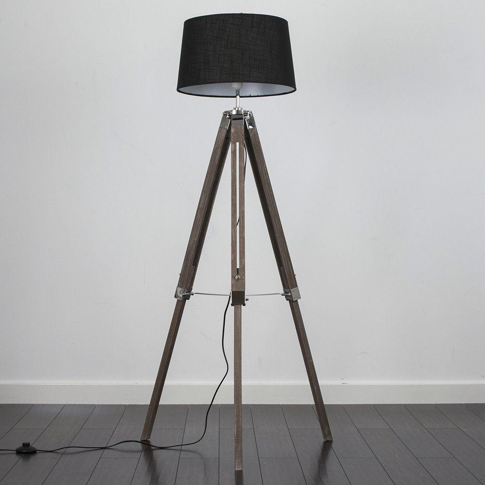 Clipper Light Wood Tripod Floor Lamp with Black Doretta