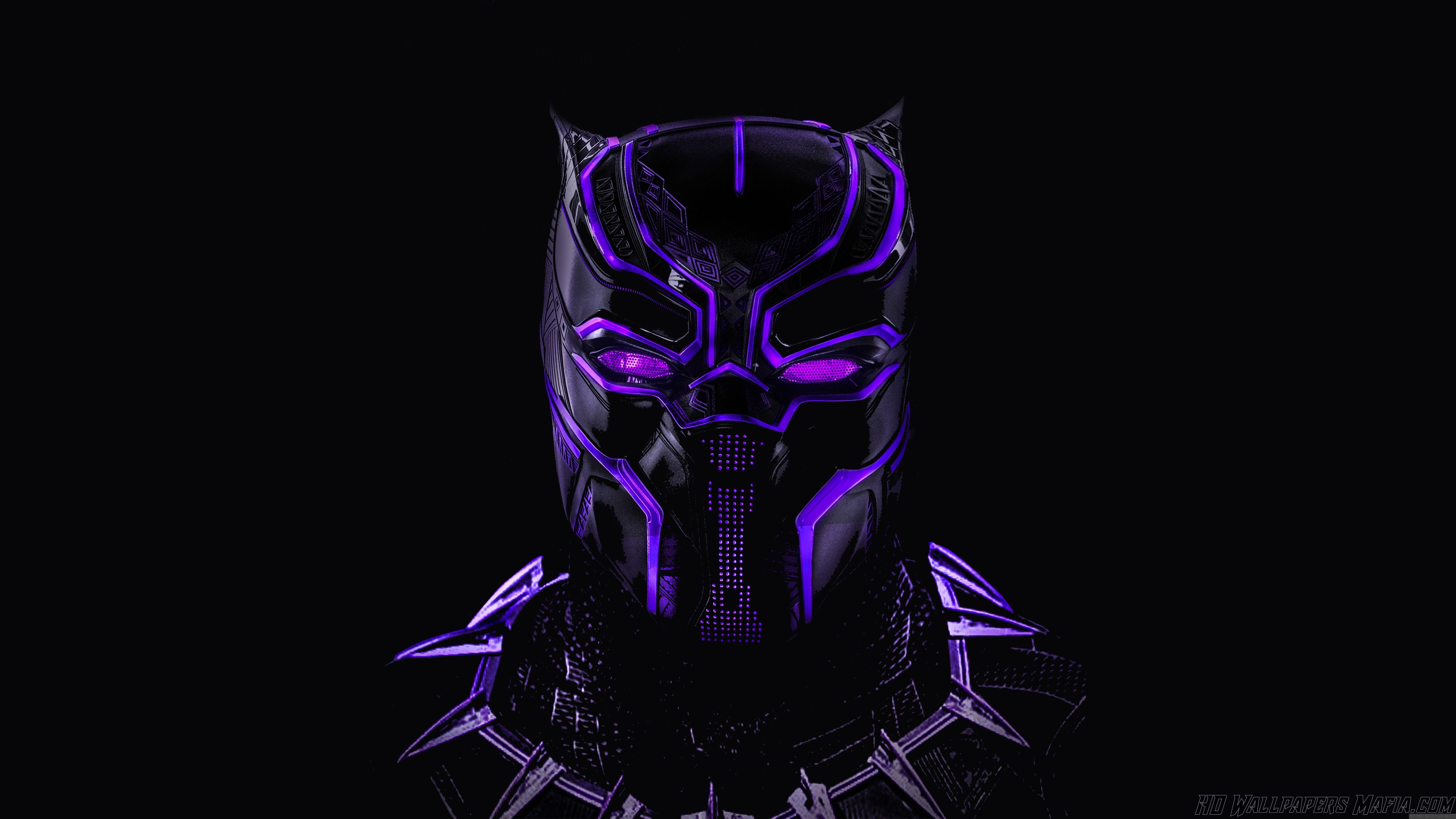 Black Panther Wallpaper Neon Artwork Dark Mask Black Panther Art