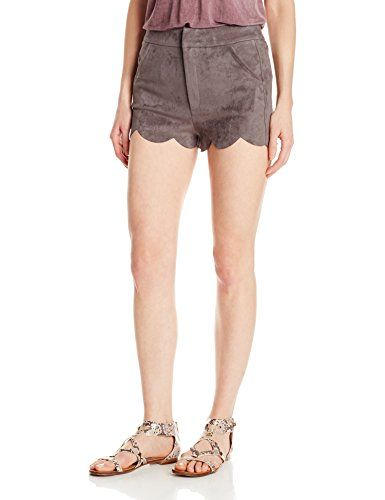 awesome Papercrane Women's Suede Shorts with Scallop Hem