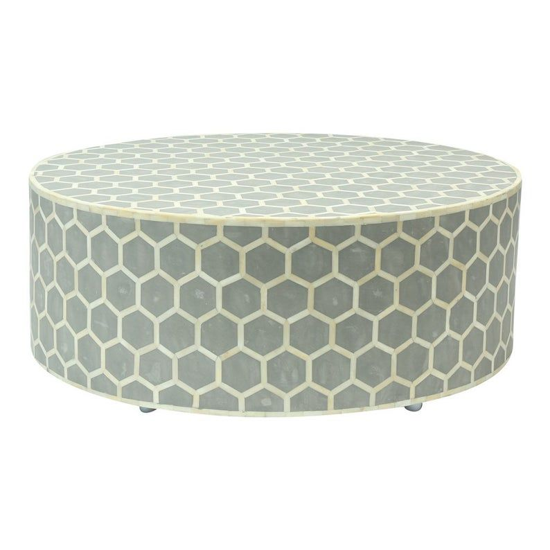 Bone Inlay Round Coffee Table in grey Color in 2020 Bone