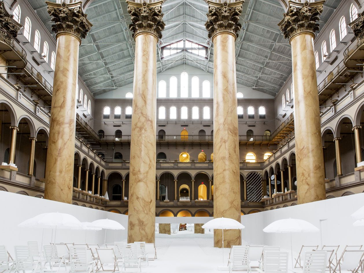 Summer At The Beach Snarkitecture S Seasonal Offering At Dc S National Building Museum National Building Museum Building Museum Museum Flooring